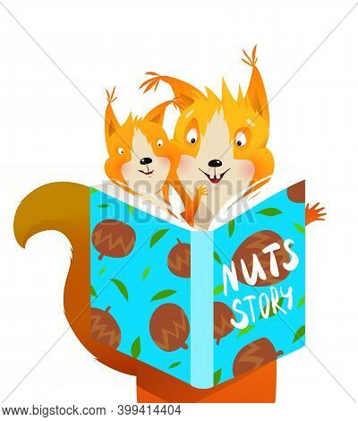 Cute Squirrel Mother Reading A Book To Her Child. Animals Cartoon For Kids Education Study And Story