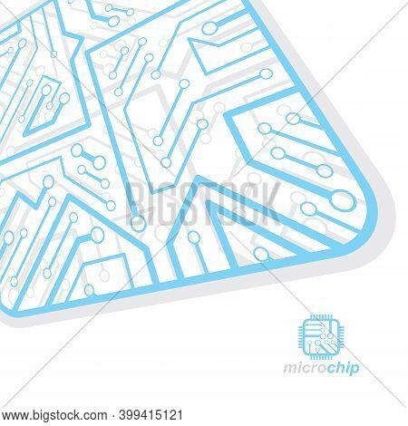 Vector Circuit Board, Digital Technologies Abstraction. Computer Microprocessor Scheme, Futuristic D