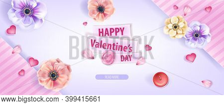 Happy Valentine's Day Love Vector Background, Greeting Card Or Promotional Poster With Anemone Flowe