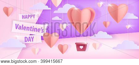 Happy Valentine's Day Vector Love Background Or Romantic Greeting Card Concept With Papercut Hearts,