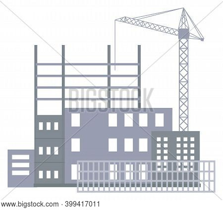 Unfinished Construction Site, Industrial Crane, Metal Construction Of Future Building, Isolated At W