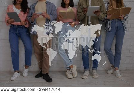 Education, International Relations And Student Exchange. Young Multiracial People With Books And Gad