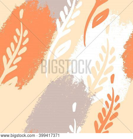Wheat Spikelets, Vector Seamless Pattern. Autumn Ornament In Grunge Style. Design On The Theme Of Ba