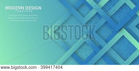 Abstract Blue And Green Geometric Square Shape Overlapping With Dot Decoration And Shadow Background