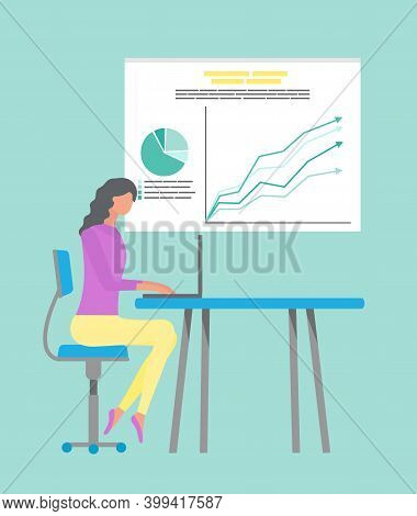 Businesswoman Sitting By Table With Laptop Vector. Secretary Worker Analysing Infocharts On Whiteboa