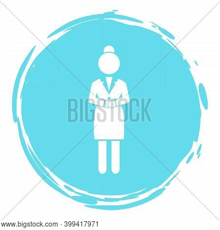 Businesswoman Turquoise Cirlce Portrait, Stamp Style, Businessperson, Woman Avatar, Logo, Wearing Of