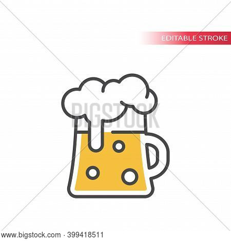 Beer Tankard Mug Line Icon With Colorful Fill. Beer Glass With Foam, Editable Stroke.