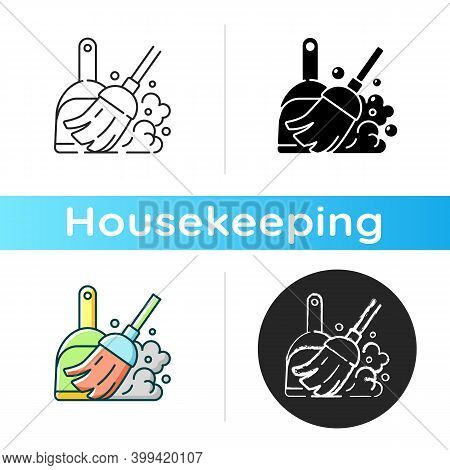 Sweeping Floor Icon. Linear Black And Rgb Color Styles. Household Chore, Indoor Cleanup. Housekeepin
