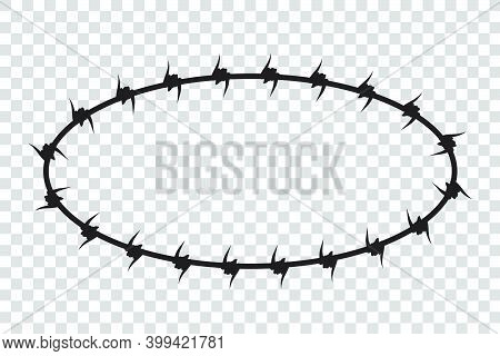 Vector Frame Silhouette Barbed Wire, Oval Shape.