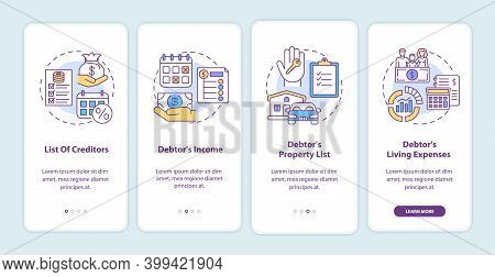 Creditor And Debtor Onboarding Mobile App Page Screen With Concepts. Banking, Accounting. Financial