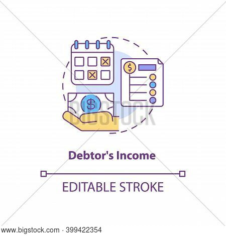 Debtor Income Concept Icon. Monthly Credit Repayment. Borrower Budget. Debtor Accounting. Bankruptcy