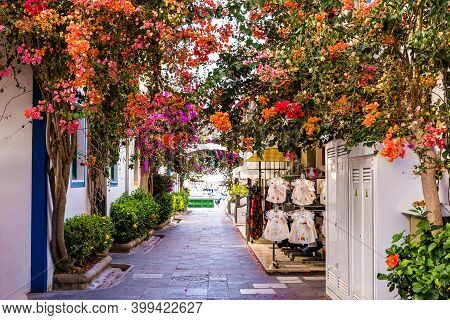 Street With Flowers In Puerto De Mogan, Gran Canaria Island, Spain