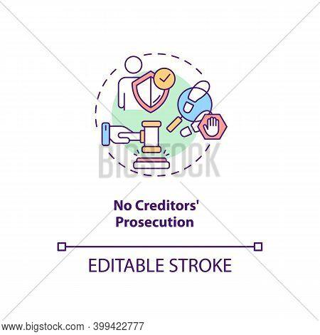 No Creditors Prosecution Concept Icon. Prevent Legal Act For Debtor. No Financial Crisis. Debt Free.