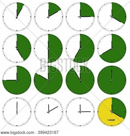 Working Time. Hourly Intervals That Represent Time In Five Minute Intervals. Time Slots To Define Th