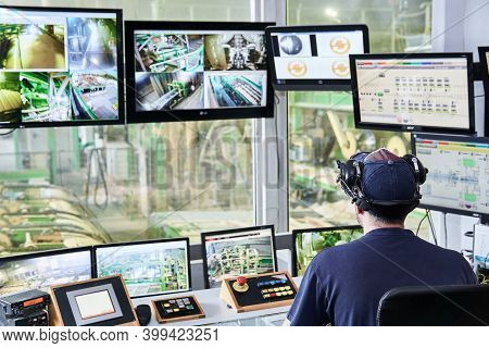 Perm, Russia - August 12, 2020: Central Point Of Remote Control Of A Modern Automated Sawmill