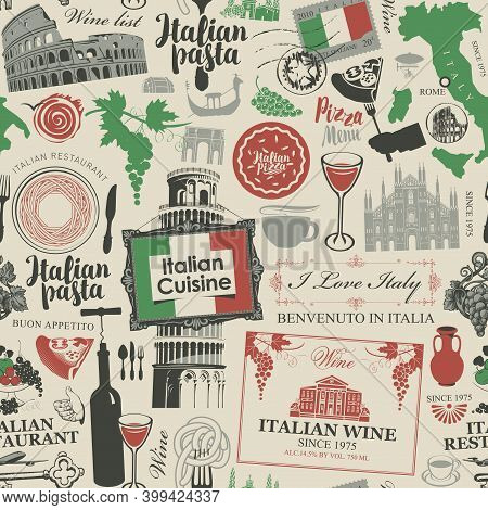 Abstract Seamless Pattern On The Theme Of Italy And Italian Cuisine In The Colors Of The Italian Fla
