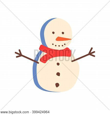 Happy Snowman Flat Vector Abstract Element. Christmas Decoration Rgb Color Clipart. Winter Season. F