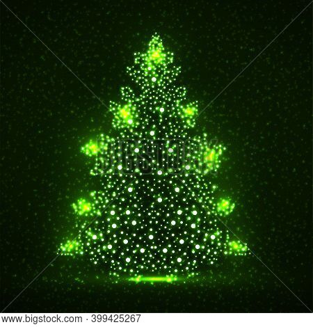 Abstract Neon Christmas Tree With Glowing Particles. Vector Illustration