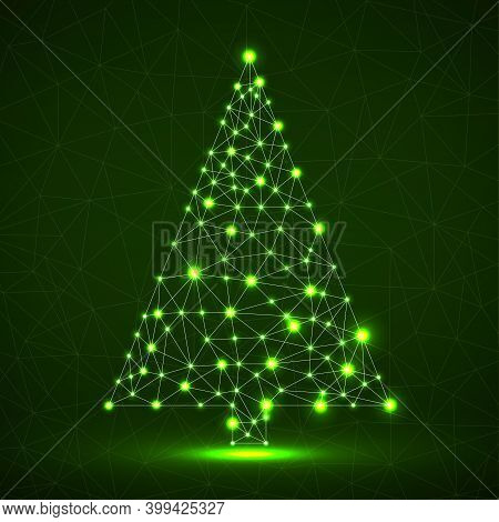 Abstract Neon Christmas Tree With Glowing Lines And Dots, Vector Illustration