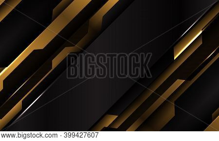 Abstract Yellow Black Metallic Cyber Futuristic Slash Banner Design Modern Technology Background Vec