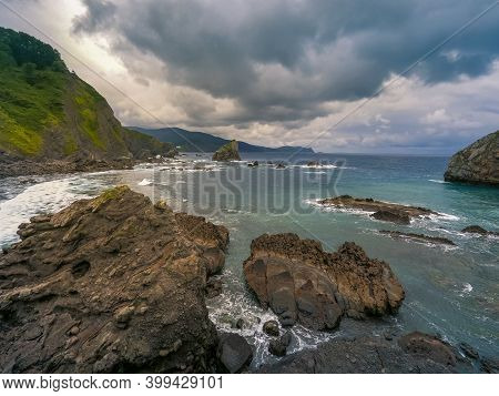 Cloudy Landscape At Cantabrian Sea In Spain
