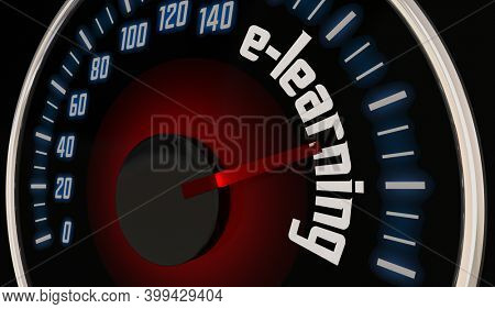 E-learning Online Virtual Remote Education Speedometer 3d Illustration