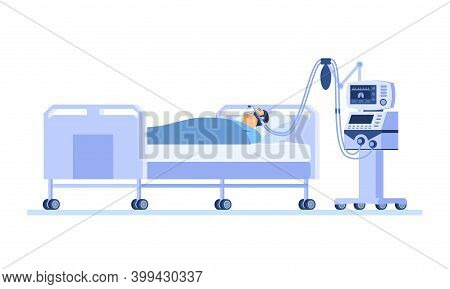 Severely Ill Patient Lying On A Hospital Bed And Breathing With The Help Of A Ventilator. Lung Disea