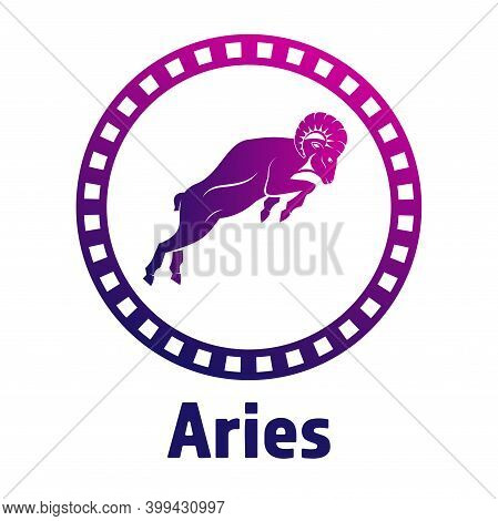 A Ram Profile With A Large Horn In A Circle. Side View. Zodiac Astrology Symbol Of The Sheep. Aries
