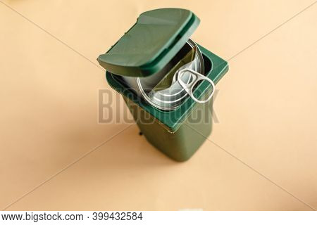 Used tin cans. Waste sorting. Separate collection. Recycling to preserve the planet's ecology.