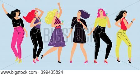Friendly Female Party. Cartoon Happy Girls Rest After Teamwork, Vector Illustration Lifestyle Of Gir