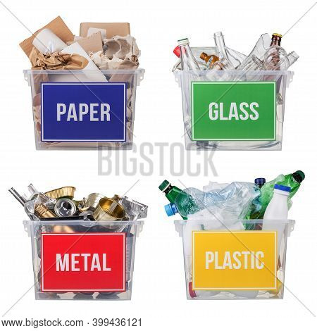 Concept Of Sorting Household Vacations And Recycling Waste. Baskets With Plastic, Metal, Glass And P