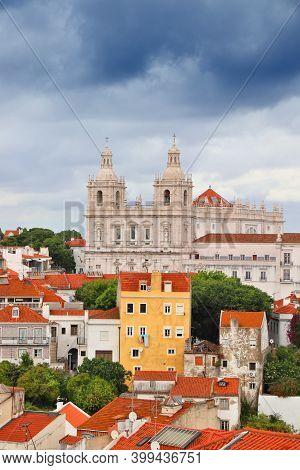 Lisbon Landmark City View With Monastery Of Sao Vicente De Fora - Alfama Neighborhood. Rainy Weather
