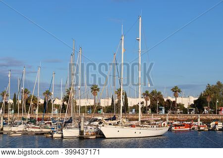 Lagos, Portugal - May 29, 2018: Marina Of Lagos, Portugal. The Town Is A Popular Tourism Destination