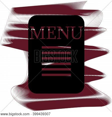 Menu Icon Of A Set. Icon On Vinous Ripples Isolated On White Backgrond. Vector
