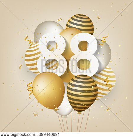 Happy 88th Birthday With Gold Balloons Greeting Card Background. 88 Years Anniversary. 88th Celebrat