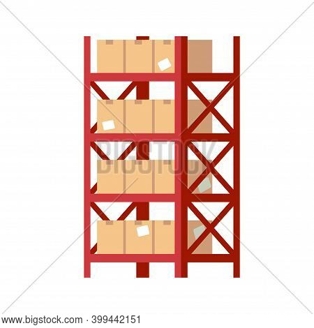 Warehouse Shelves With Boxes. Red Metal Rack With Beige Square Cardboard Closed Parcels, Packaging C