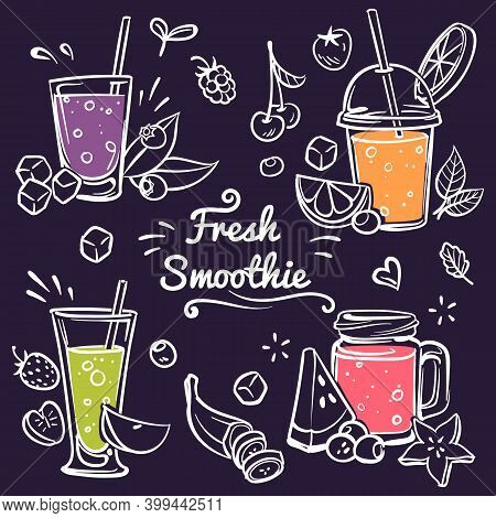 Hand Drawn Smoothies. Cup With Detox Drinks In Different Bottle Collection, Diet With Fresh Fruit An
