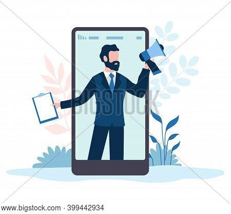 Refer A Friends. Referral Marketing Program For Customers, Man With Megaphone On Smartphone Screen,