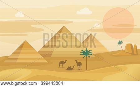 Egypt Desert Landscape. Egyptian Pyramids With Camels Silhouette, African Sand Dunes Panorama, Hot S