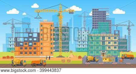 Building Site. Construction Work Big Area, Special Machines Crane, Concrete Mixer And Truck, Enginee