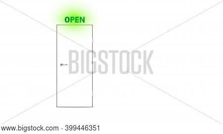 White Closed Door And Open Exit Lamp, Light Background. Abstract Room With Text Indicator, Entrance.