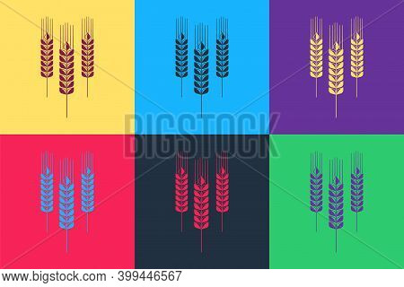 Pop Art Cereals Icon With Rice, Wheat, Corn, Oats, Rye, Barley Icon Isolated On Color Background. Ea