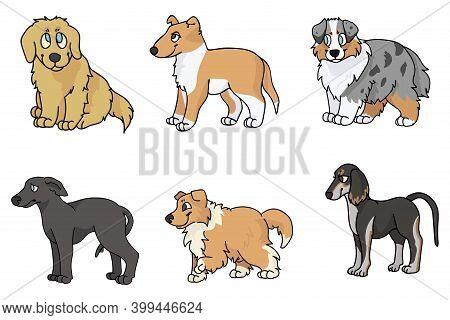 Cute Cartoon Puppy Breed Set Vector Clipart. Pedigree Kennel Rough Collie, Golden Retriever For Dog