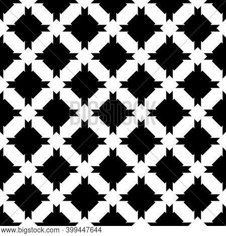 Seamless Pattern. Figures Ornament. Mosaics Background. Crosses Motif. Folk Image. Ethnic Wallpaper.