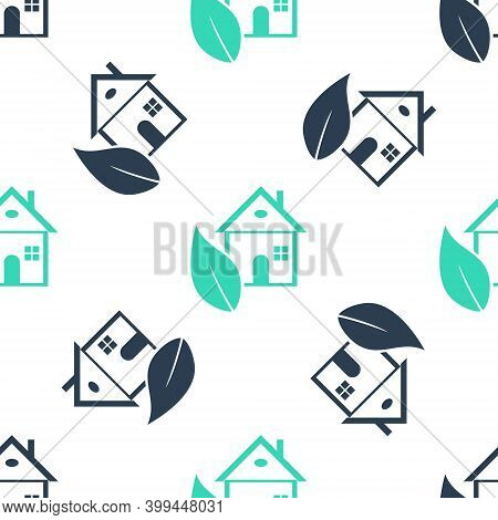 Green Eco Friendly House Icon Isolated Seamless Pattern On White Background. Eco House With Leaf. Ve