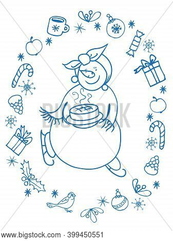 Female Snowman Funny Character Ice Skating With Pie On A Platter In A Scarf And Shawl. In The Form O