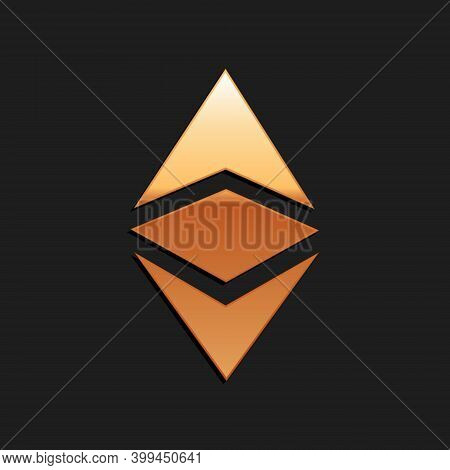 Gold Cryptocurrency Coin Ethereum Classic Etc Icon Isolated On Black Background. Digital Currency. B