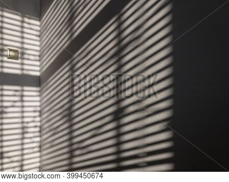 Lights Shadows. Abstract Light, Black Shadow Overlay From Window On White Texture Wall. Sunlight Arc