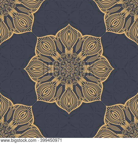 Seamless Vector Color Pattern With Mandala. Abstract Oriental Mandala Background. Vintage Decorative