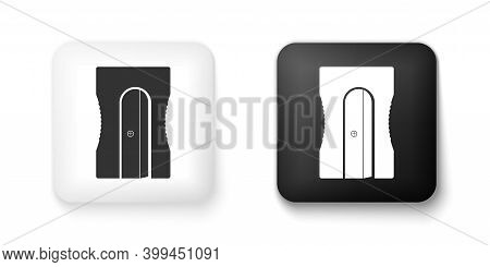 Black And White Pencil Sharpener Icon Isolated On White Background. Square Button. Vector